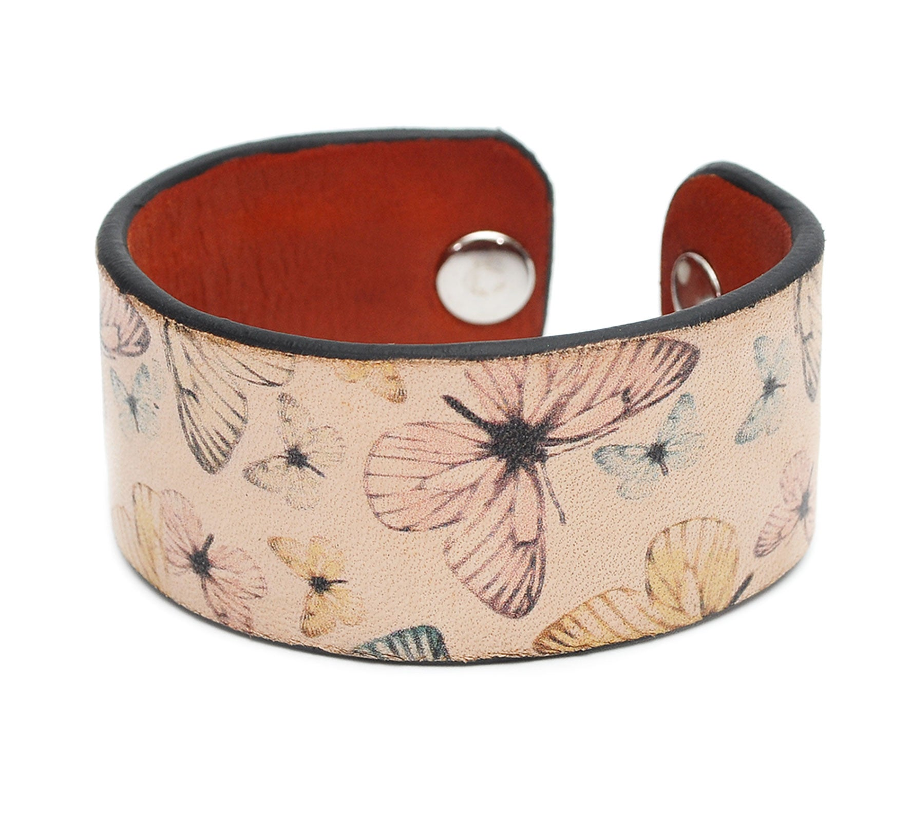 Colorful Butterflies Print Handmade Leather Bracelet Jewelry HLB_01