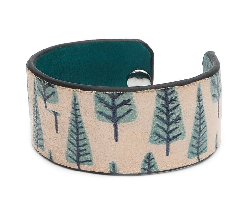 Xmas Tree Pattern Print Handmade Leather Bracelet Jewelry HLB_01