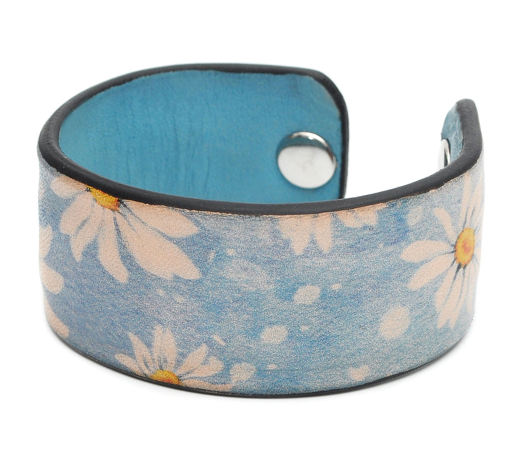Watercolor Flowers Patterns-1 Print Handmade Leather Bracelet Jewelry HLB_01