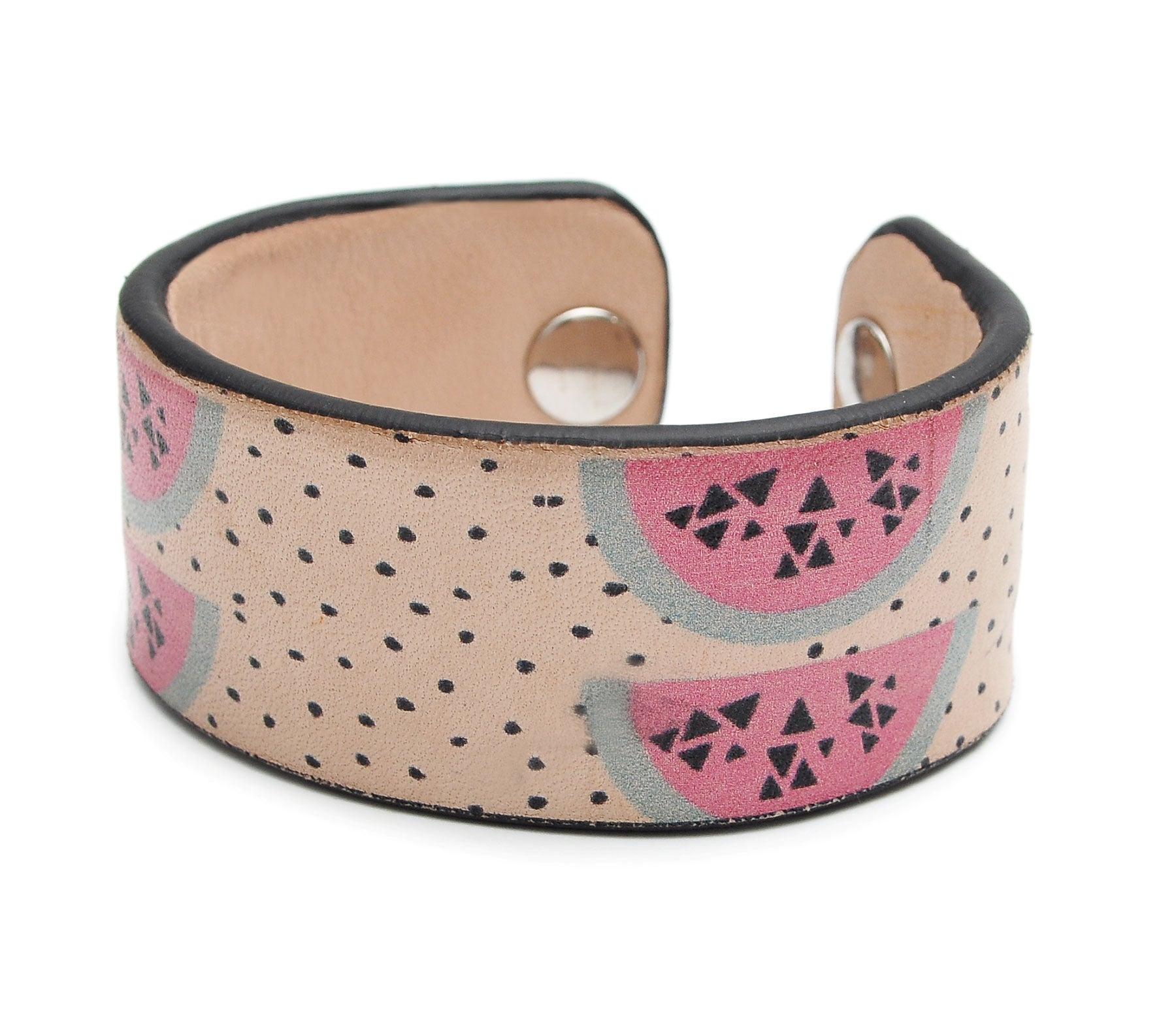 Watercolor Fruit Patterns Print Handmade Leather Bracelet Jewelry HLB_01