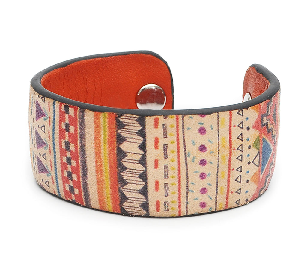 Aztec Patterns Print Handmade Leather Bracelet Jewelry HLB_01