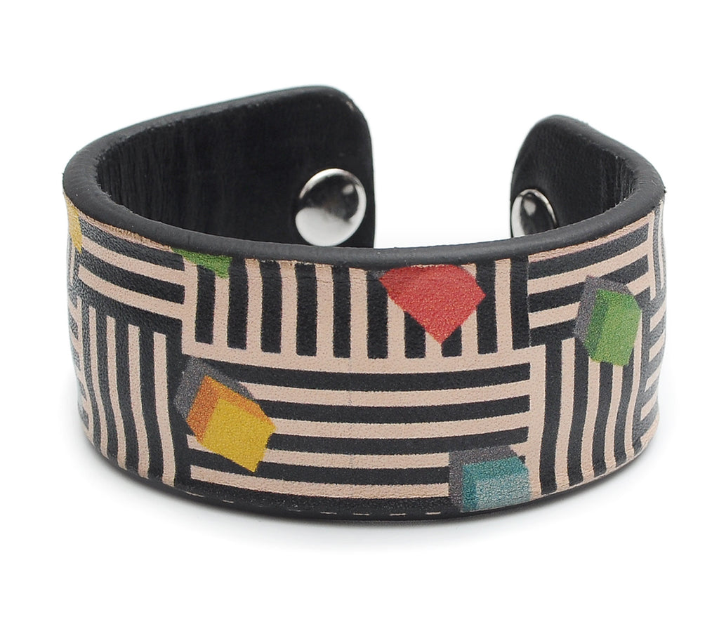 Cubes and triangle Pattern Print Handmade Leather Bracelet Jewelry HLB_01