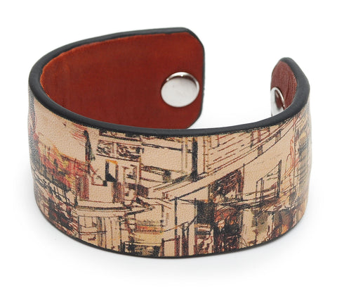 Urban City Print Handmade Leather Bracelet Jewelry HLB_01