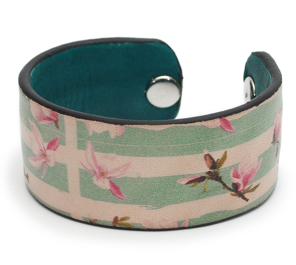Plants Pattern Print Handmade Leather Bracelet Jewelry HLB_01