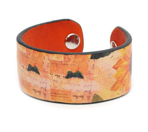 Sunflowers  Print Handmade Leather Bracelet Jewelry HLB_01