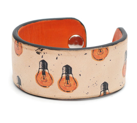 Light Bulbs Print Handmade Leather Bracelet Jewelry HLB_01