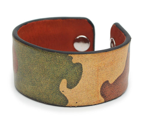 Retro Camo Print Handmade Leather Bracelet Jewelry HLB_01