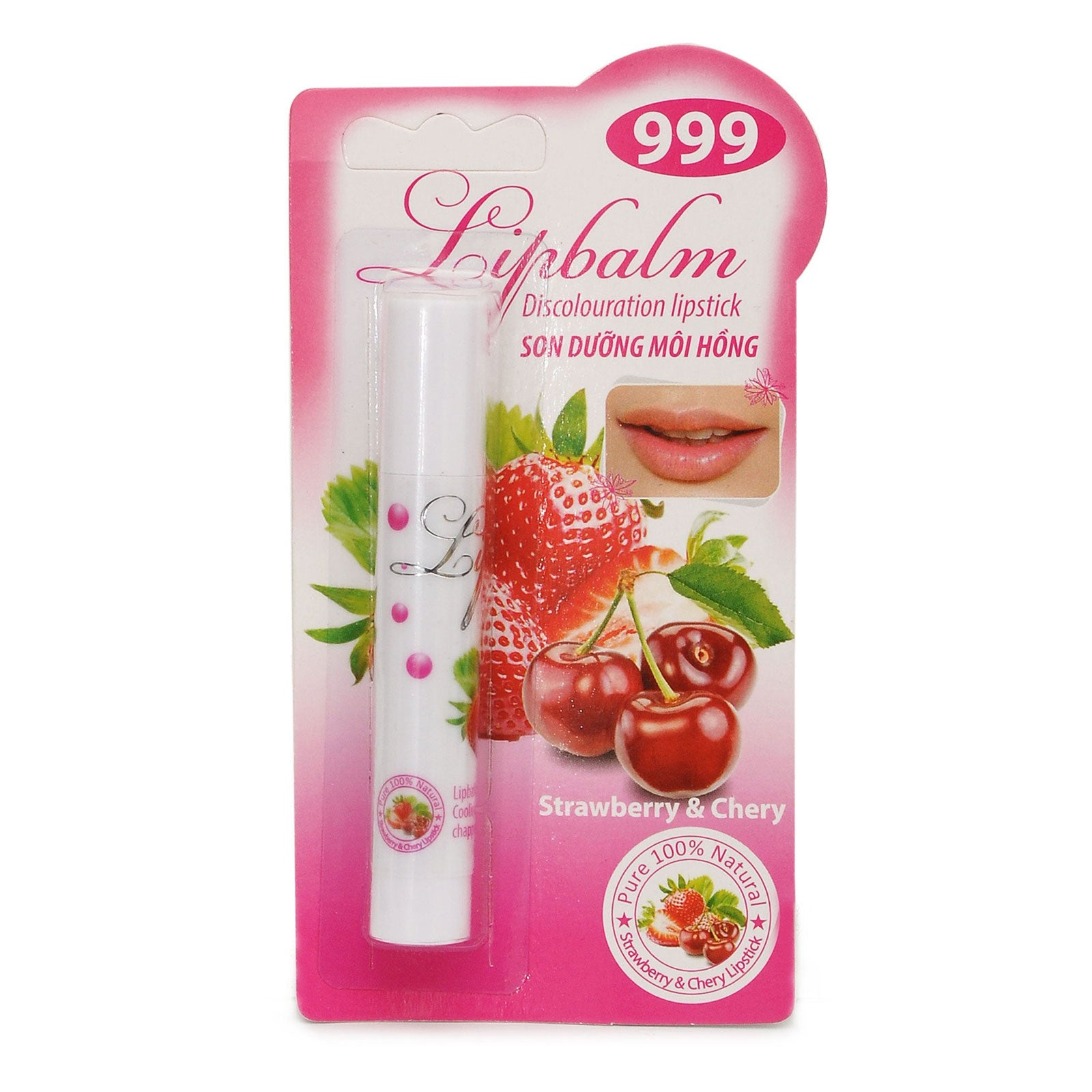 999 Lipbalm - Capstick-Pure 100% Natural Coconut Oil Strwaberry Cherry