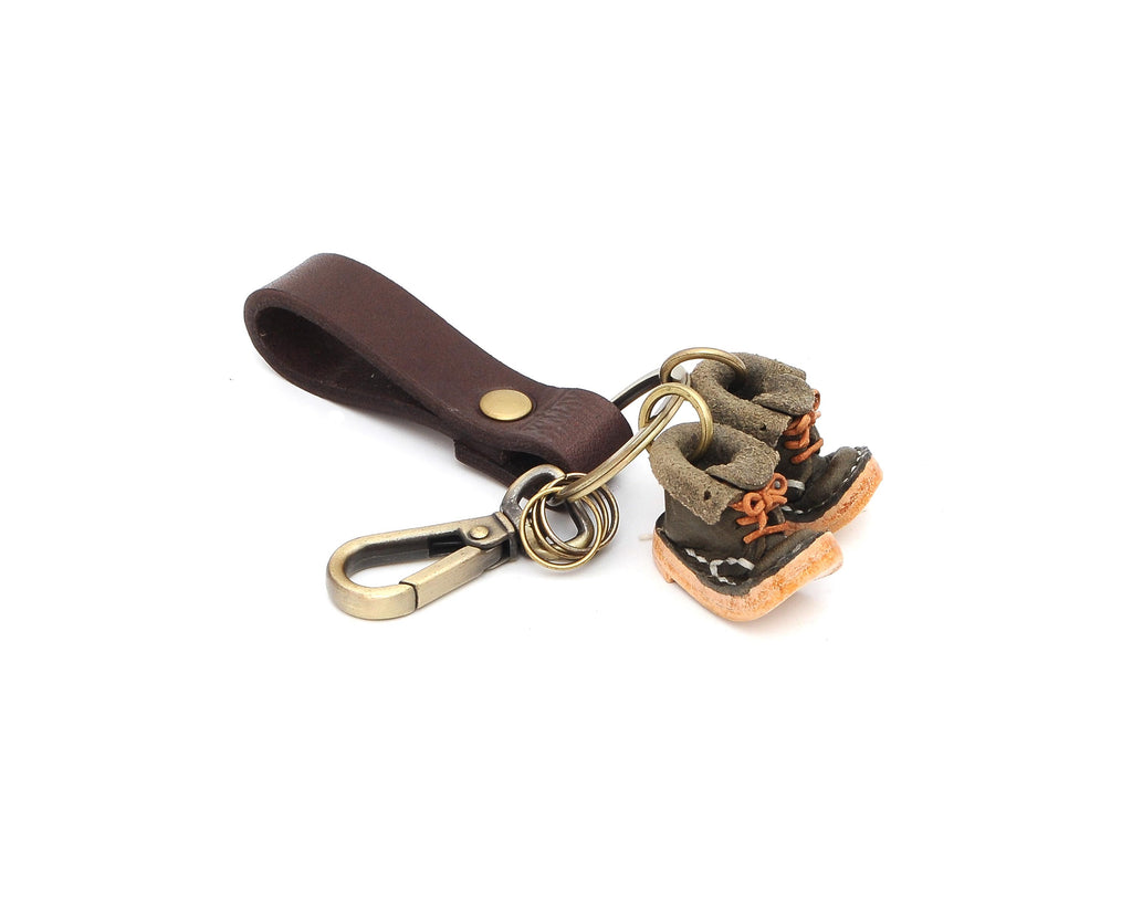 Genuine Leather Miniature Shoes Bag Cowboy Hat Boot Keychain Ring Handcrafted