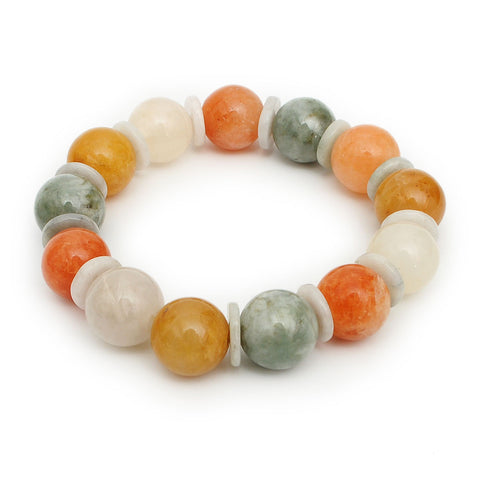 New Fashion Men/ Women 14 mm Natural Genuine Jade Round Bead Bracelet Jewelry