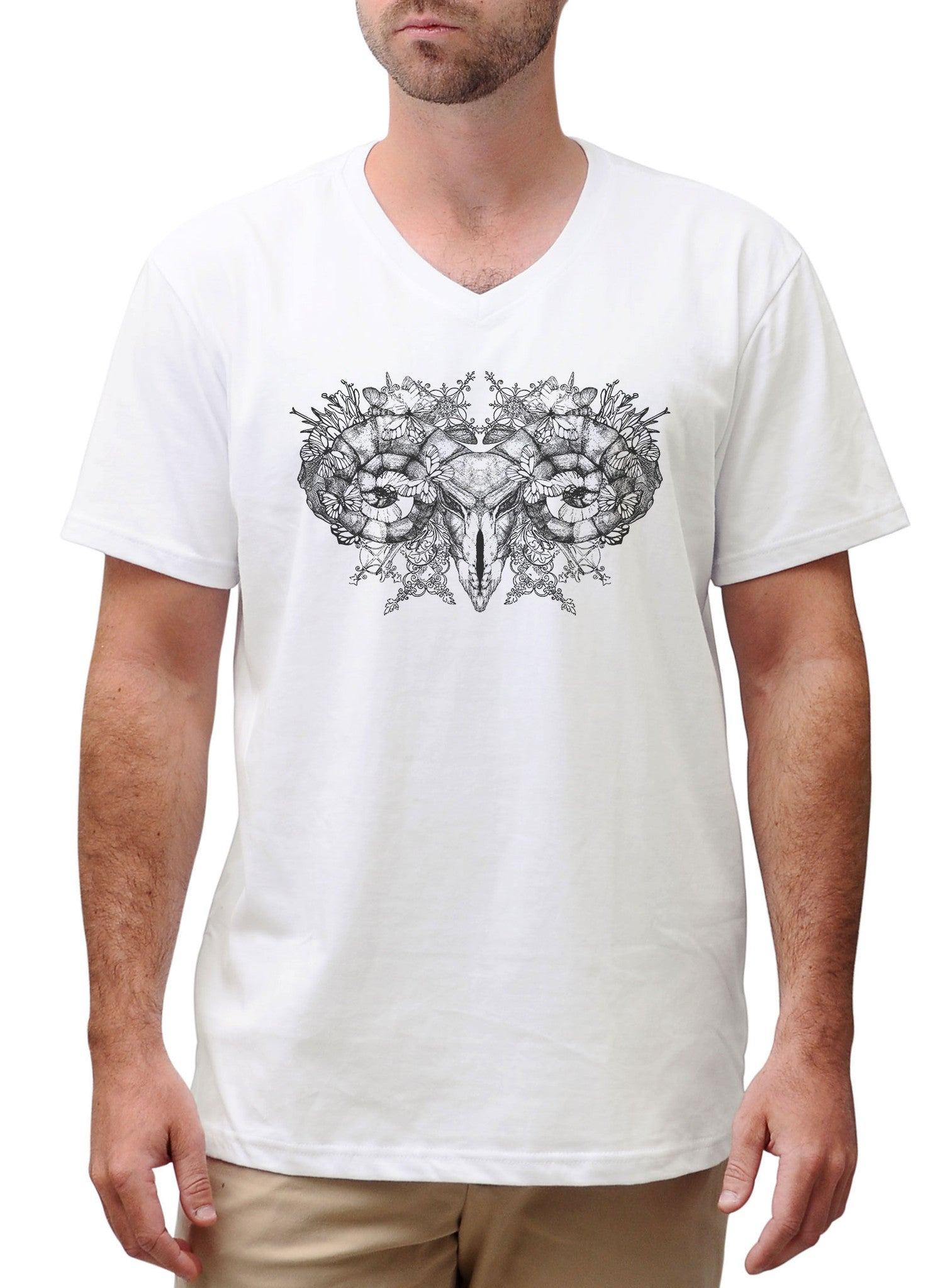 Men Aries skull with horns Graphic Printed Cotton Short Sleeves T-shirt MTS_02