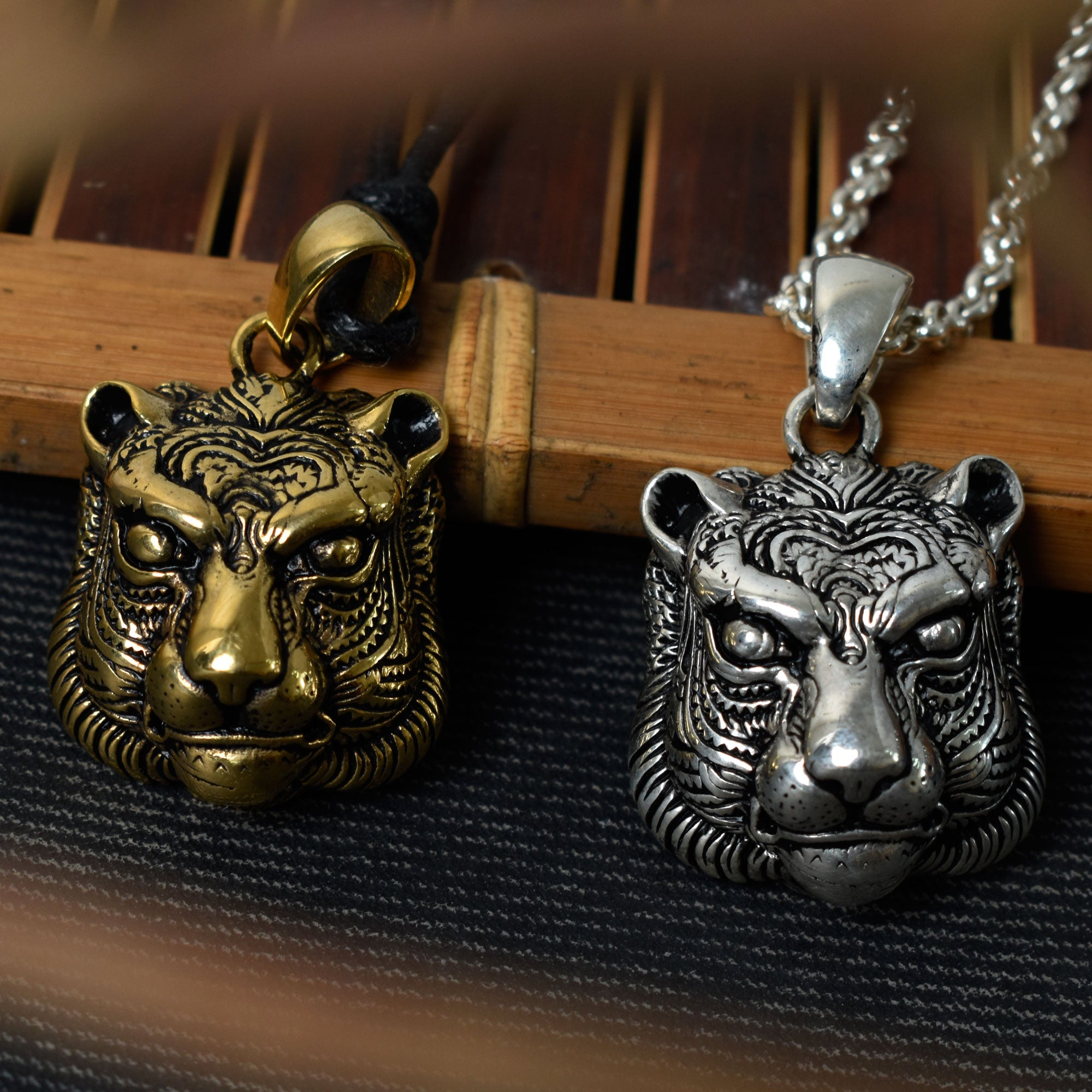 Panther Head Sterling Silver Gold Brass Necklace Pendant Jewelry