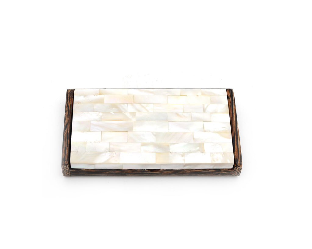 Myanmar Coconut Wood & Mother of Pearl Seashell Business Name Card Holder Case
