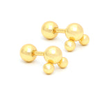 1 Yellow Powder Coated Stainless Three Studs Earrings