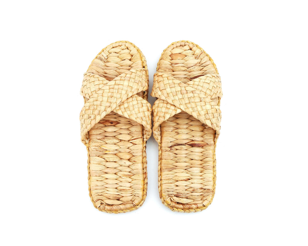 Natural Handmade - Cross Slippers for Men and Ladies - Hand Woven Water Hyacinth