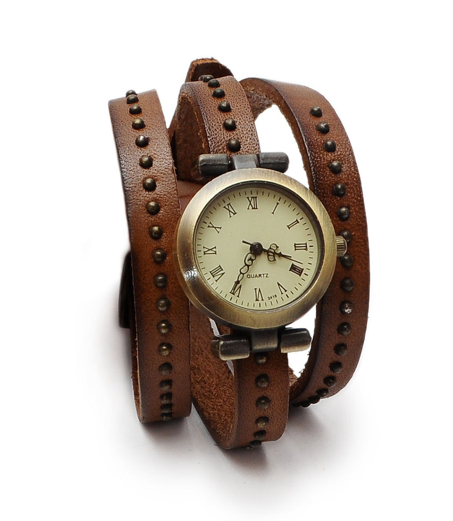 Retro Fashion Quartz Woman's Wrist Watch Wrap Around Real Leather Studded Bracelet