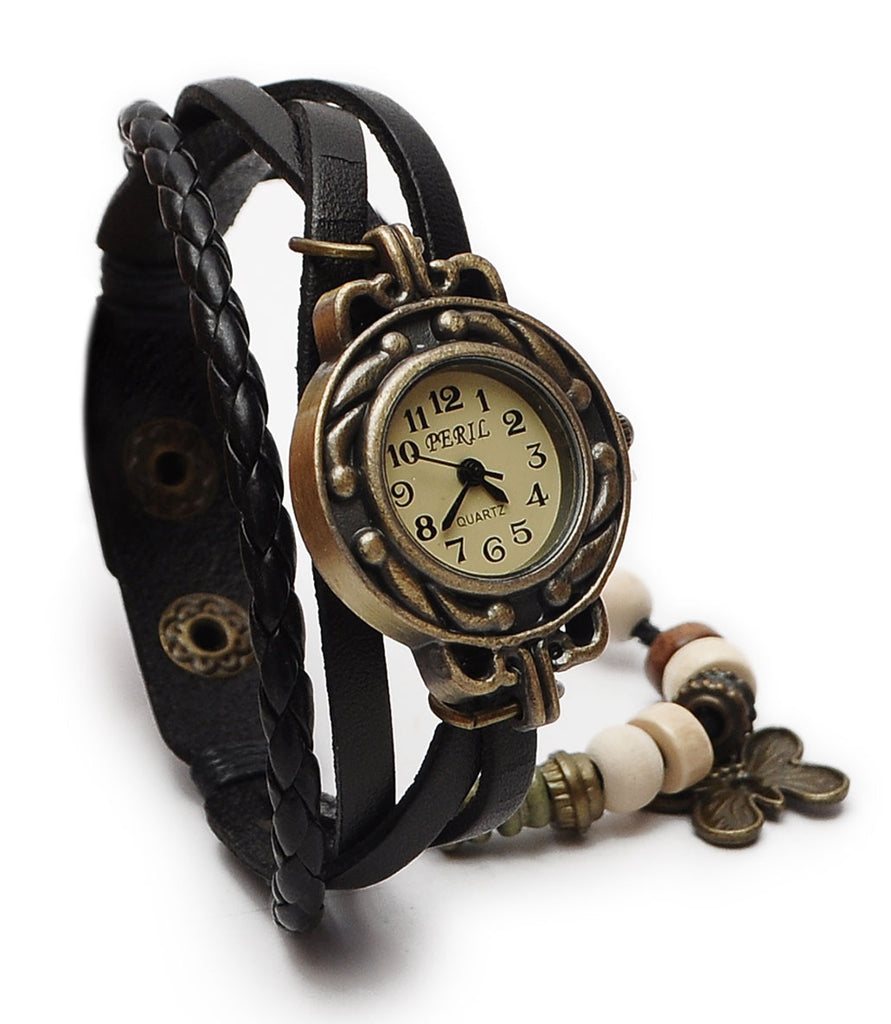 Women Vintage Charm Fashion Butterfly Bracelet Real Leather Quartz Wrist Watch