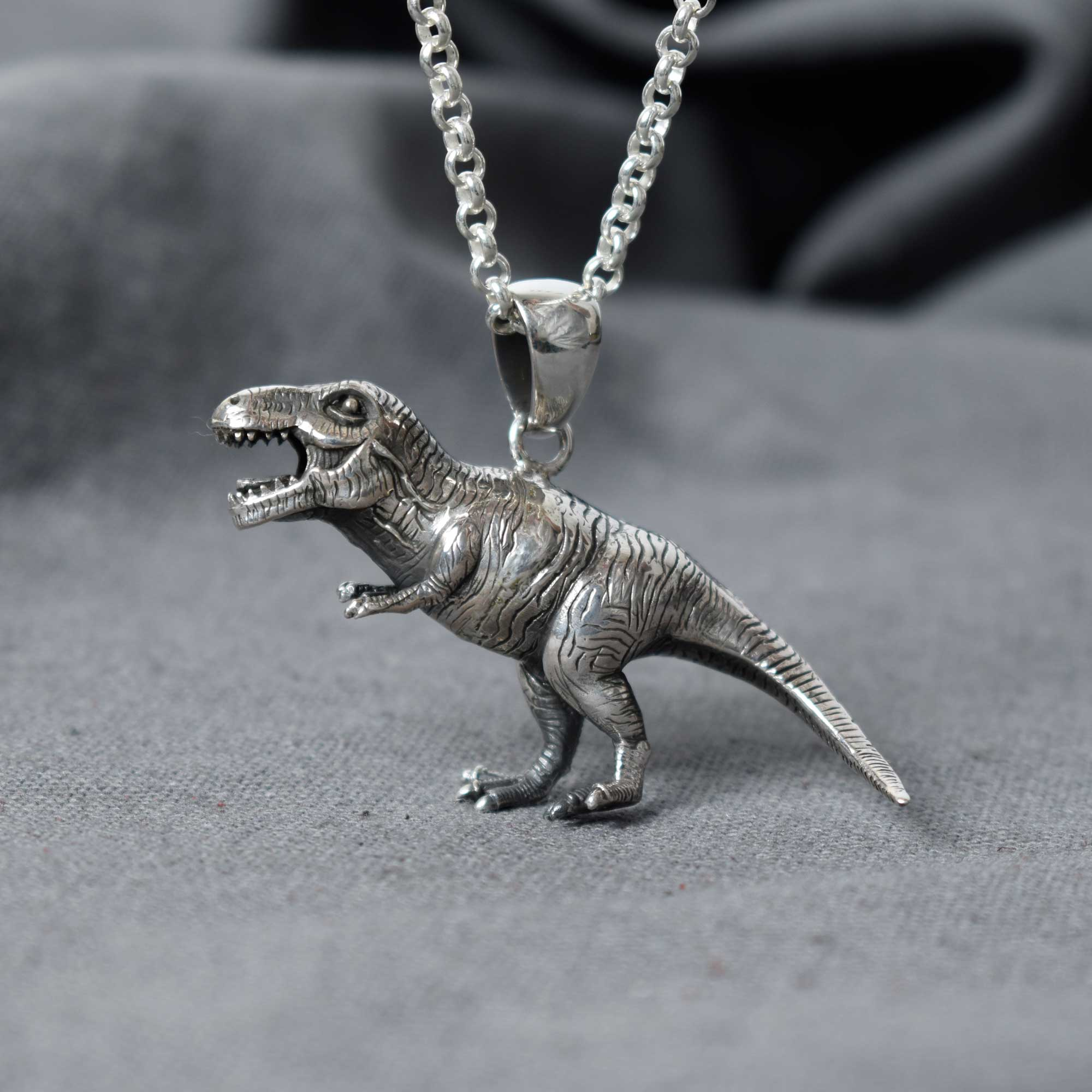 Tyrannosaurus Rex T-Rex 925 Sterling Silver Charm Necklace Pendant Jewelry