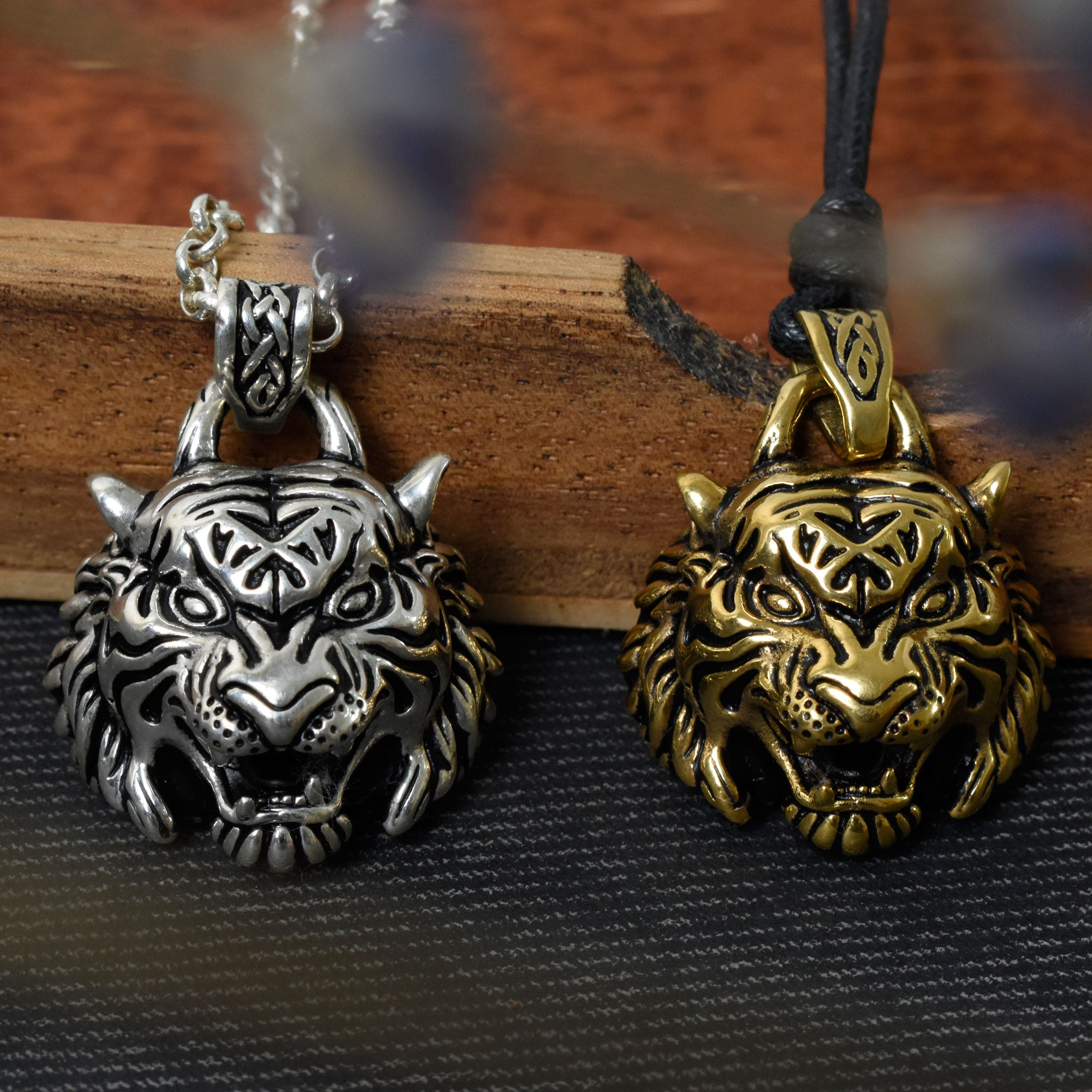 Tiger Head Wild Animal 925 Sterling Silver Gold Brass Necklace Pendant Jewelry