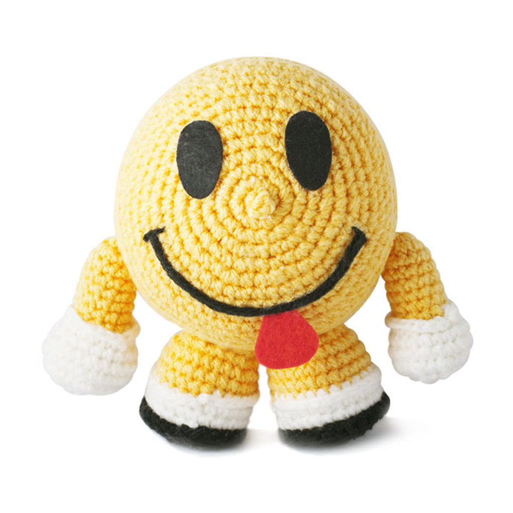 Yellow Smiley Happy Face Handmade Amigurumi Stuffed Toy Knit Crochet Doll VAC