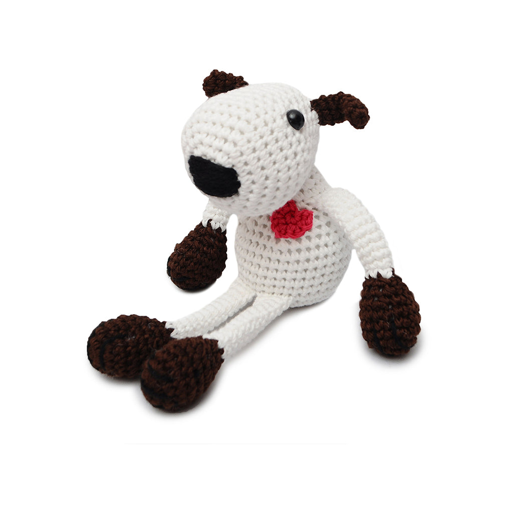 White;Brown Puppy Love Handmade Amigurumi Stuffed Toy Knit Crochet Doll VAC