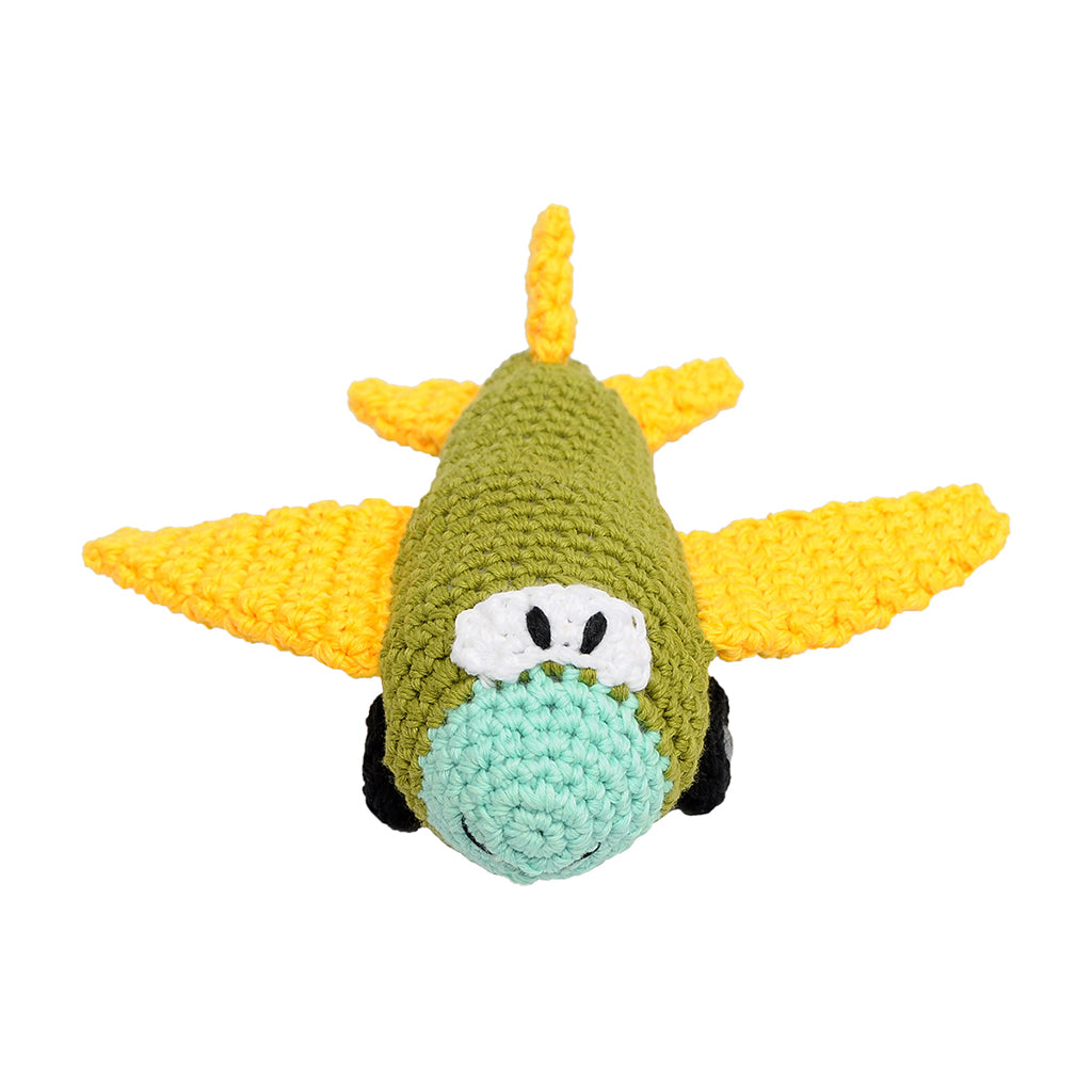 Green Aircraft Handmade Amigurumi Stuffed Toy Knit Crochet Doll VAC
