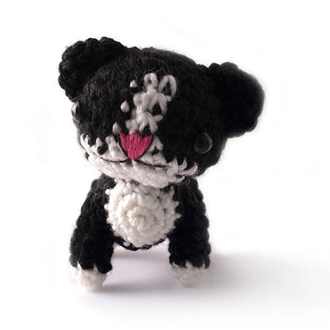 Black-White Kitten Handmade Amigurumi Stuffed Toy Knit Crochet Doll VAC
