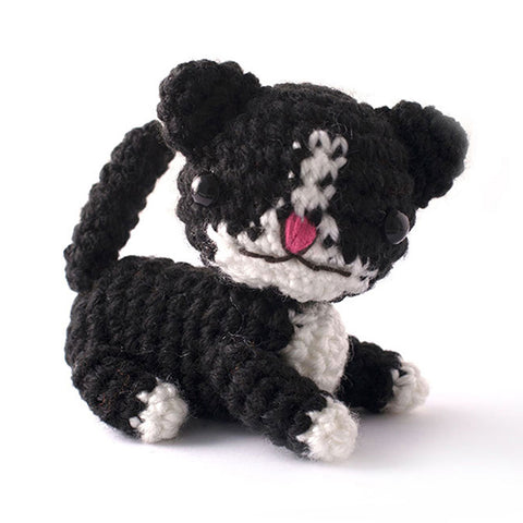 Black Kitten Handmade Amigurumi Stuffed Toy Knit Crochet Doll VAC