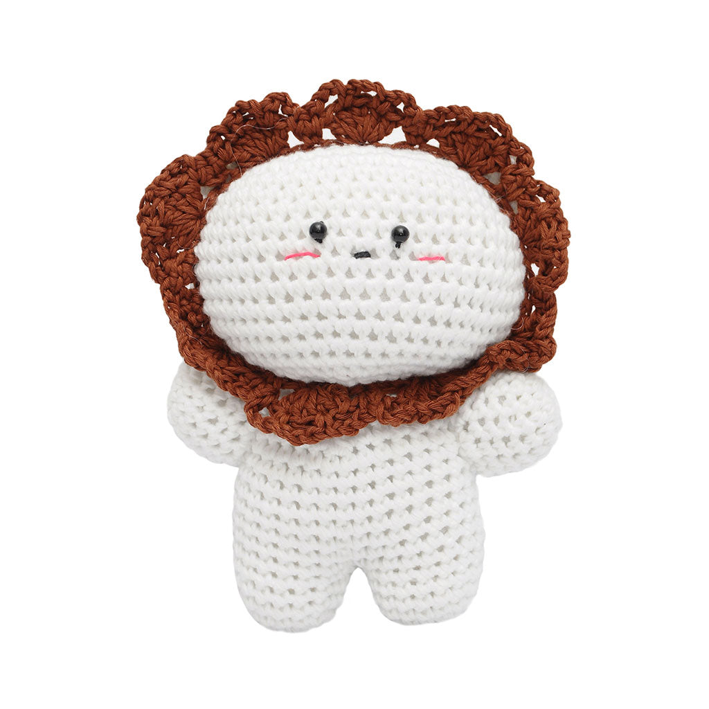 White-Brown Lion Handmade Amigurumi Stuffed Toy Knit Crochet Doll VAC