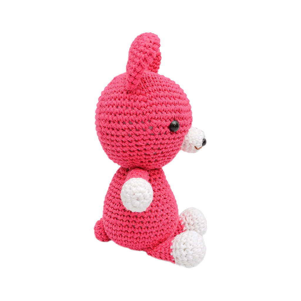 Pink; Brown Puppy Handmade Amigurumi Stuffed Toy Knit Crochet Doll VAC