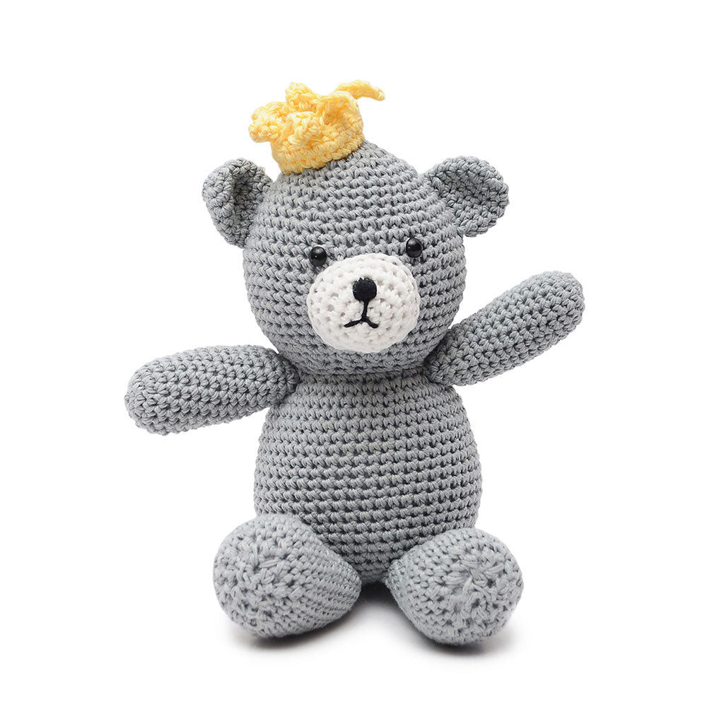 Gray Prince Bear Handmade Amigurumi Stuffed Toy Knit Crochet Doll VAC
