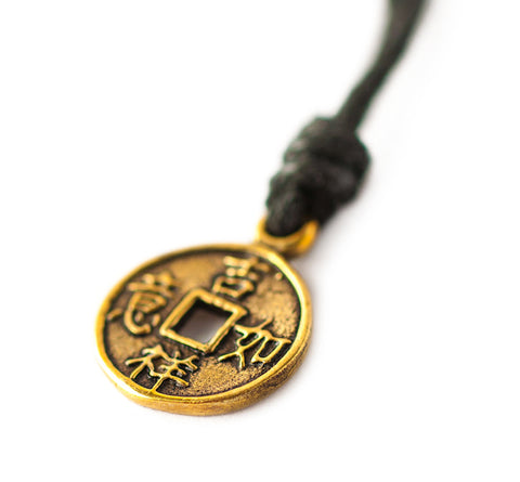 I Ching Coin Fen Shui Handmade Brass Necklace Pendant Jewelry