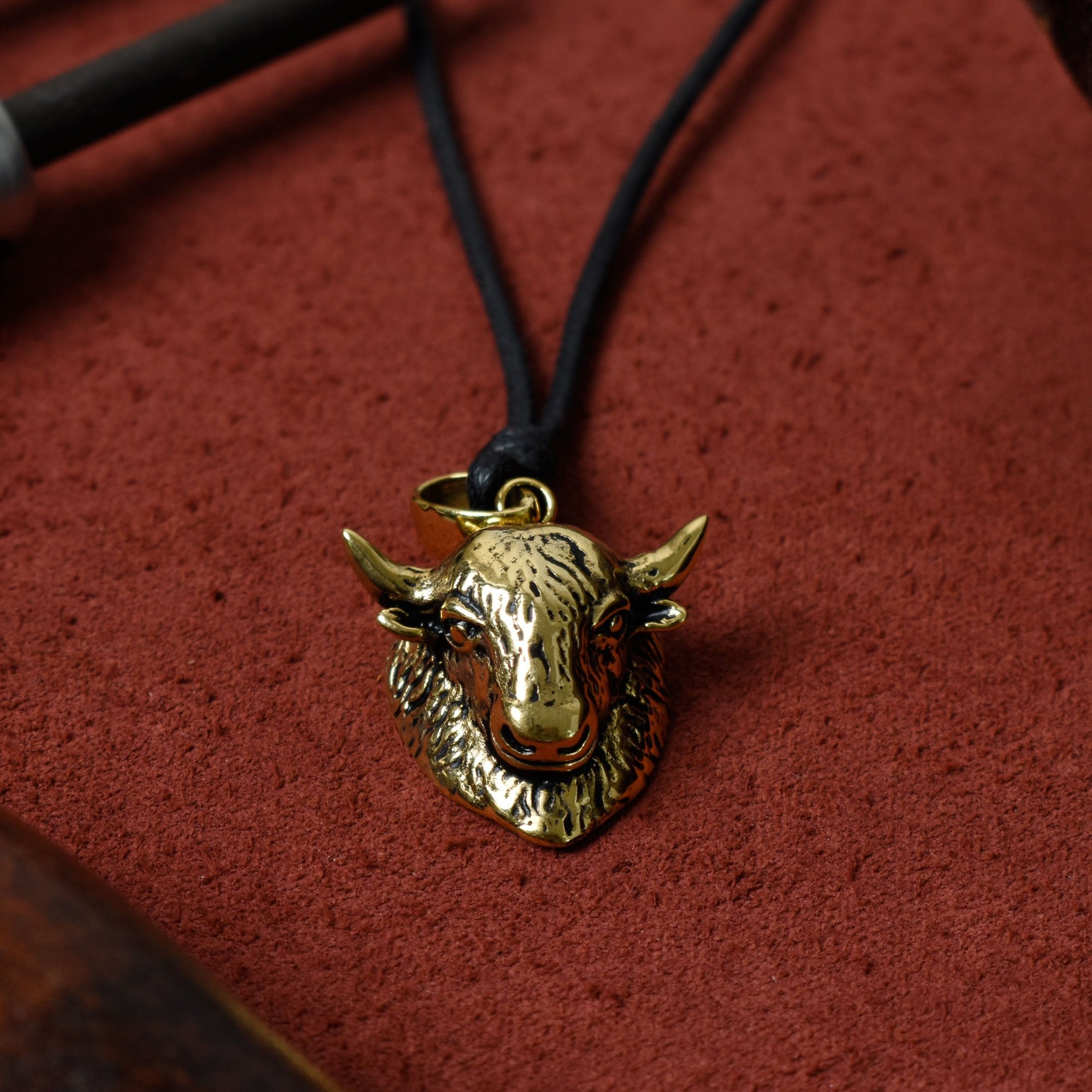 Bison Head 92.5 Sterling Silver Gold Brass Pendant Necklace Jewelry