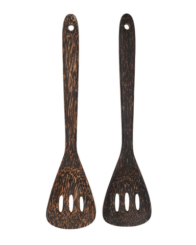Coconut Wood Curved Slotted Turners - Unique And Special Kitchen Tool