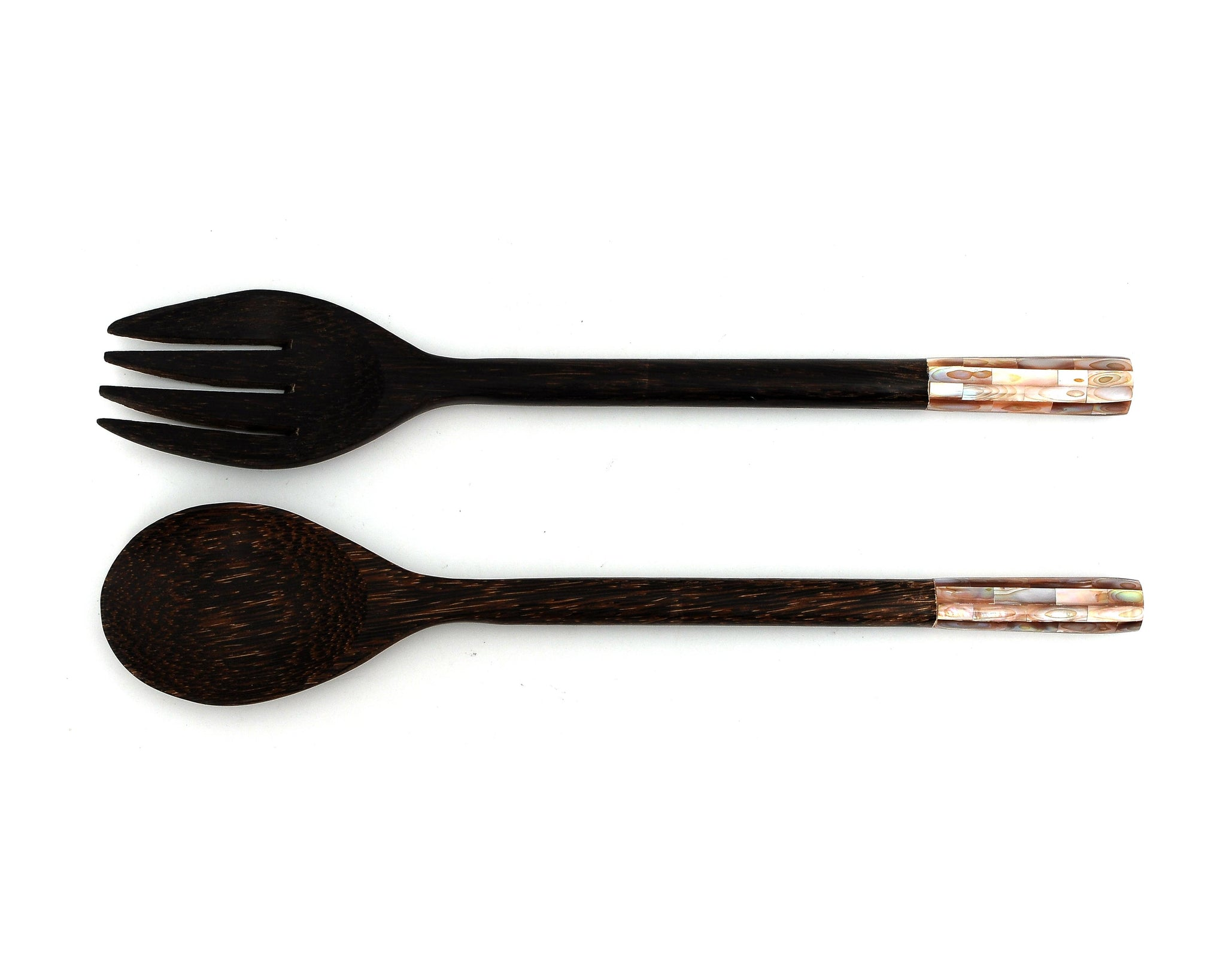 Myanmar Palm Wood Salad Fork & Spoon With Mother of Pearl Inlay Round Handle