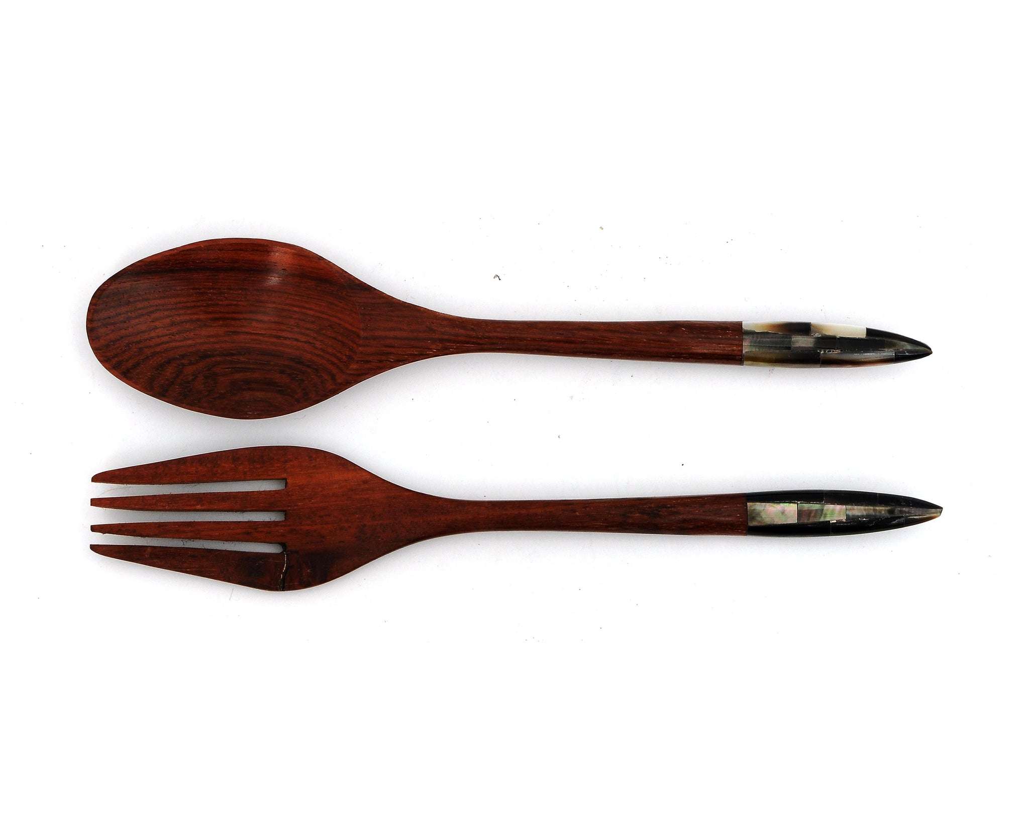 Myanmar Wooden Dinner Spoons and Forks With Mother of Pearl Inlay Handle