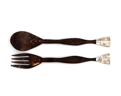 Myanmar Coconut Shell Salad Fork & Spoon With Fish Shaped Mother of Pearl Handle