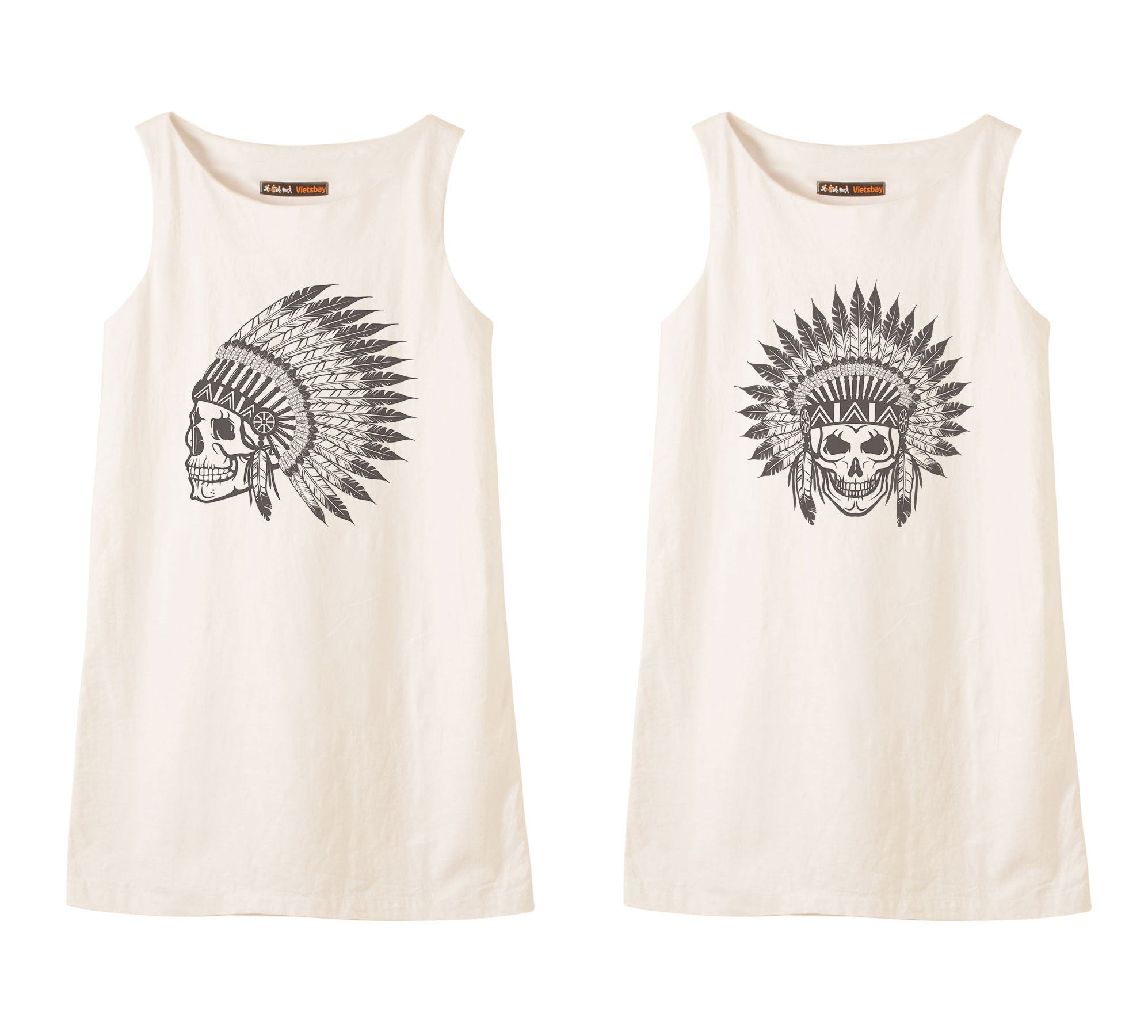 Skull wear indian headdress Printed Vintage Linen Mini Shift Dress WDS_01