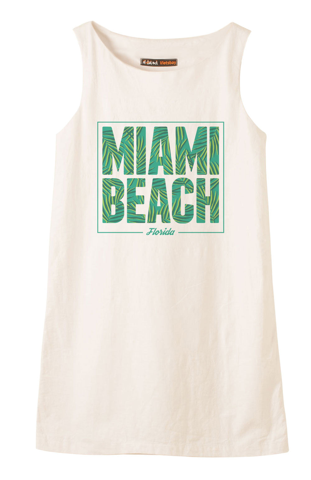 Miami beach Printed Vintage 100% Cotton Linen Mini Shift Dress WDS_01