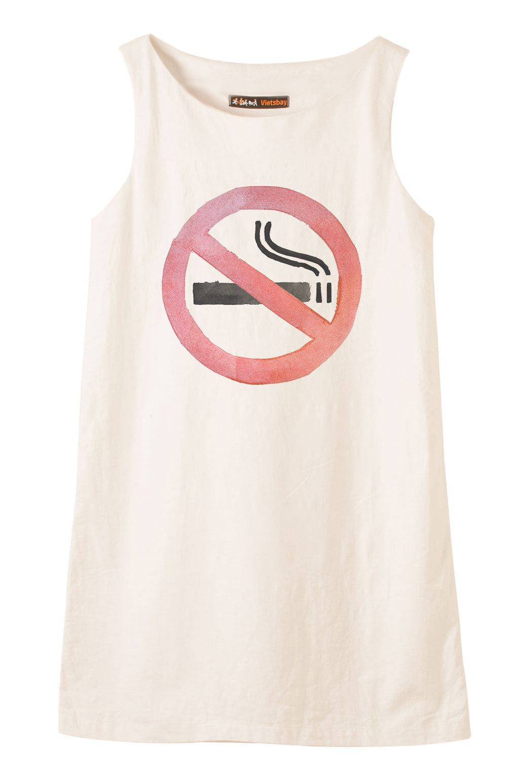 No smoking sign Printed Vintage 100% Cotton Linen Mini Shift Dress WDS_01