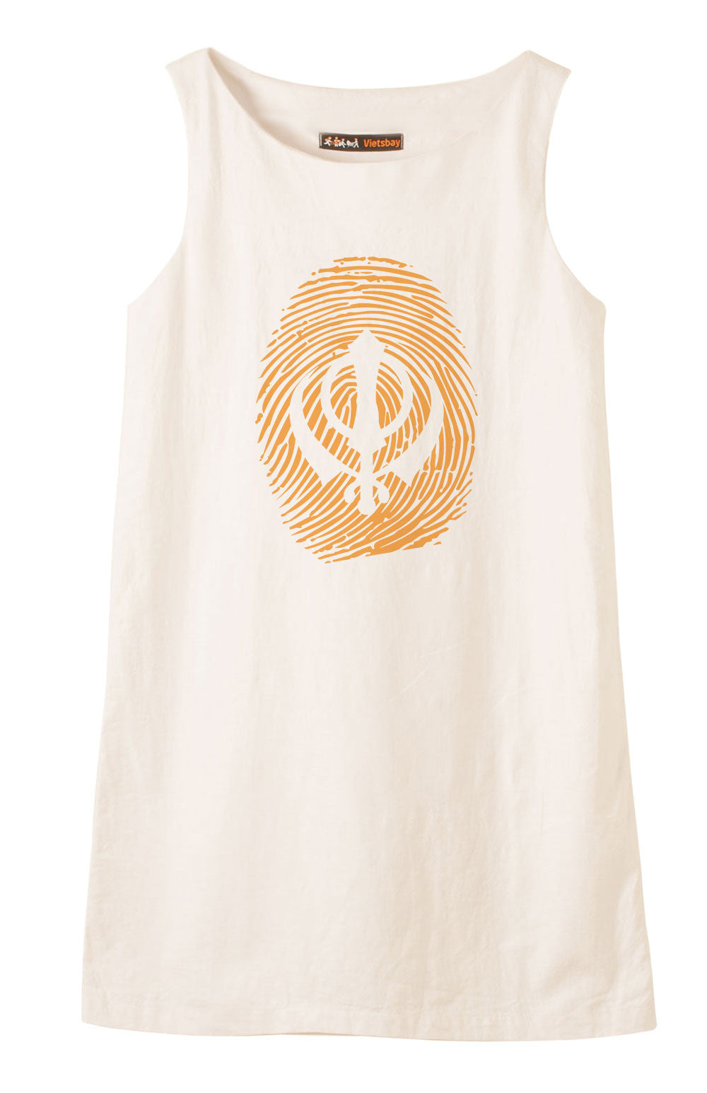 Sikh Symbol Thumb Printed Printed Vintage Linen Mini Shift Dress WDS_01
