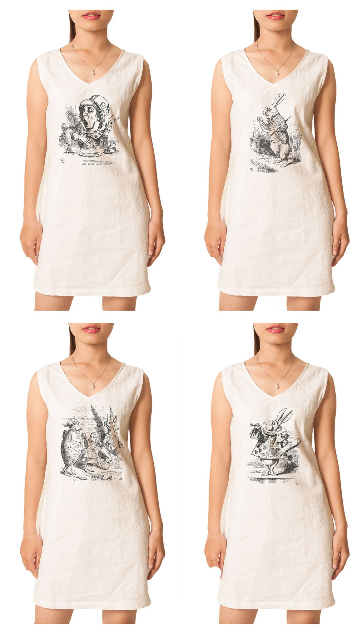 Women's Alice in Wonderland Printed Vintage Linen Mini Shift Dress WDS_02