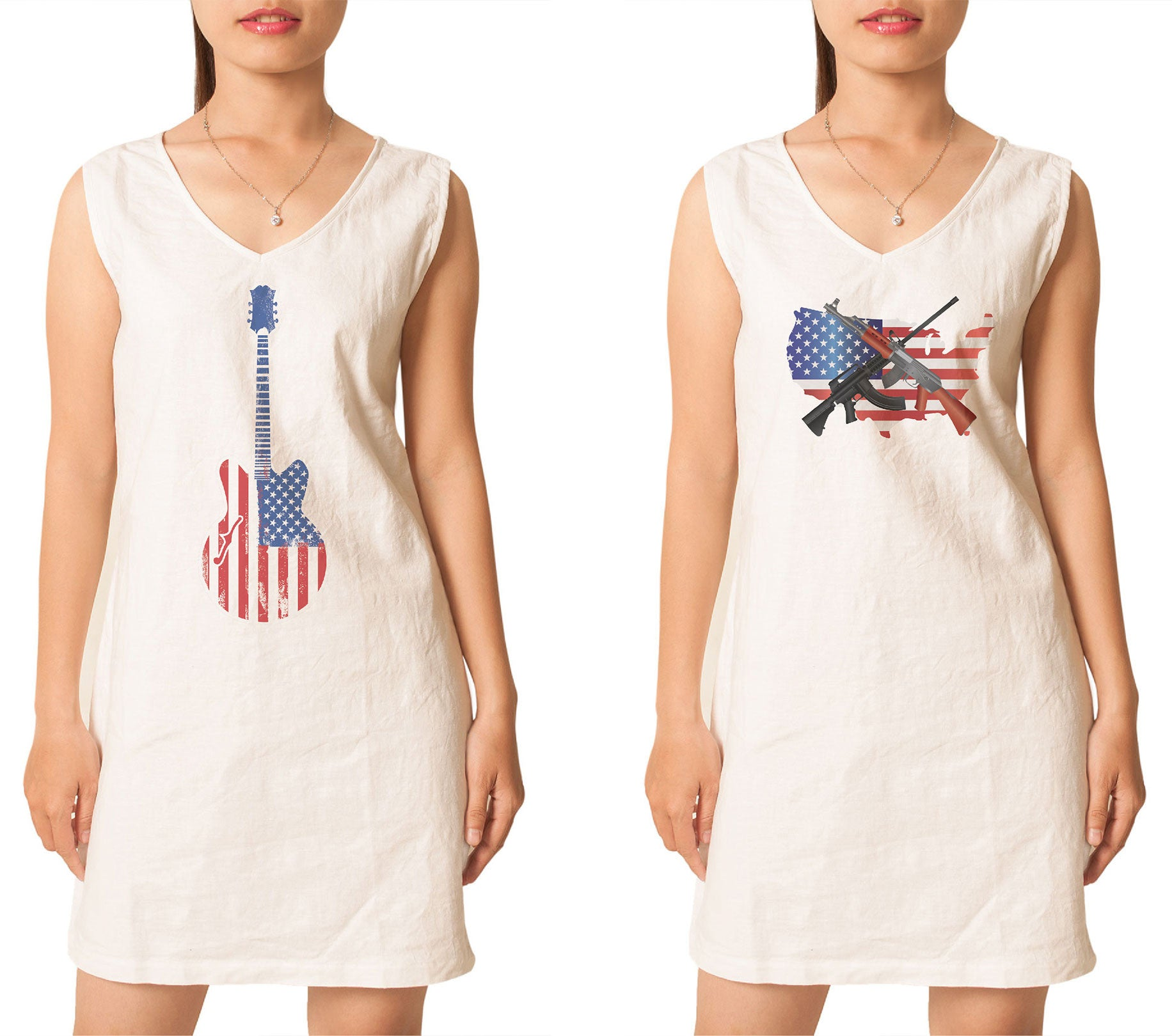 Women's American Flag-1 Printed Vintage Linen Mini Shift Dress WDS_02