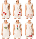 Women's Flowers-33 Printed Vintage Short Sleeves Linen Mini Shift Dress WDS_02