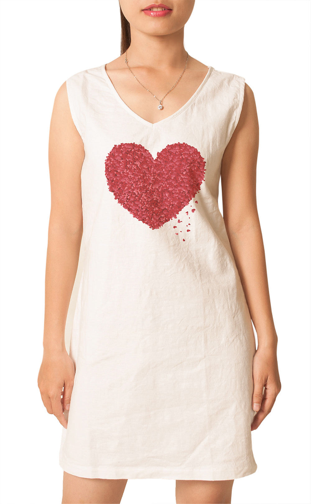 Women's Rose heart-1 Printed Vintage Short Sleeves Linen Mini Shift Dress WDS_02