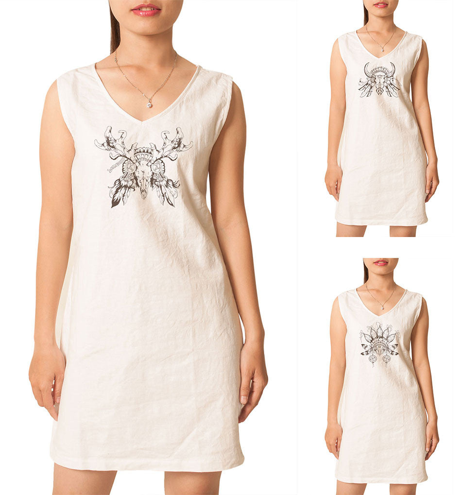 Women Tribal Decorative Totem Printed Vintage Linen Mini Shift Dress WDS_02