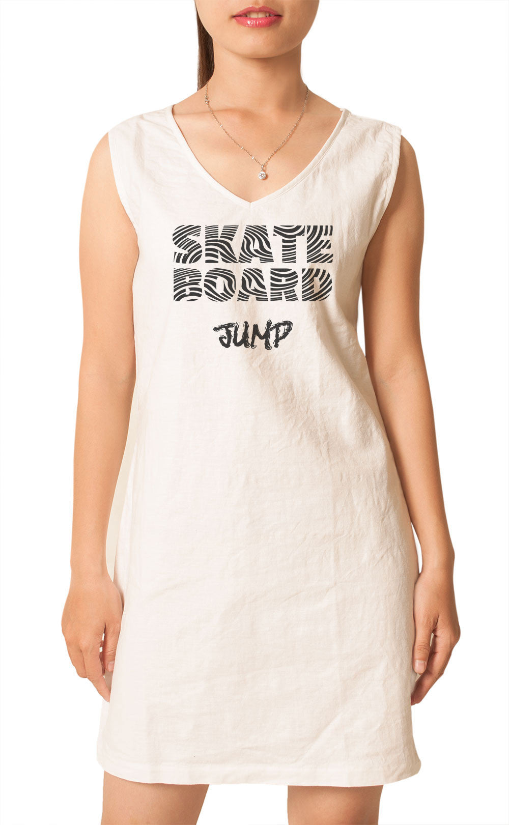 Women Skate Board Jumb Printed 100% Cotton Vintage Linen Mini Shift Dress WDS_02