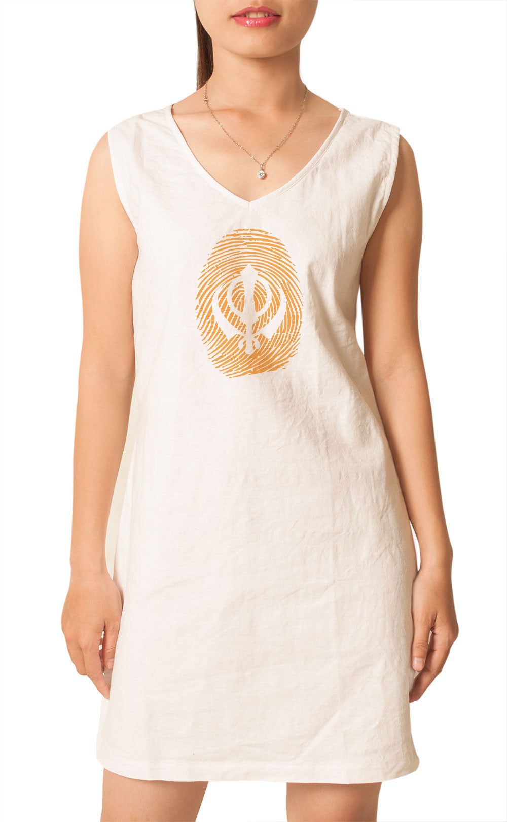 Women Sikh Symbol Thumb Printed Printed Vintage Linen Mini Shift Dress WDS_02