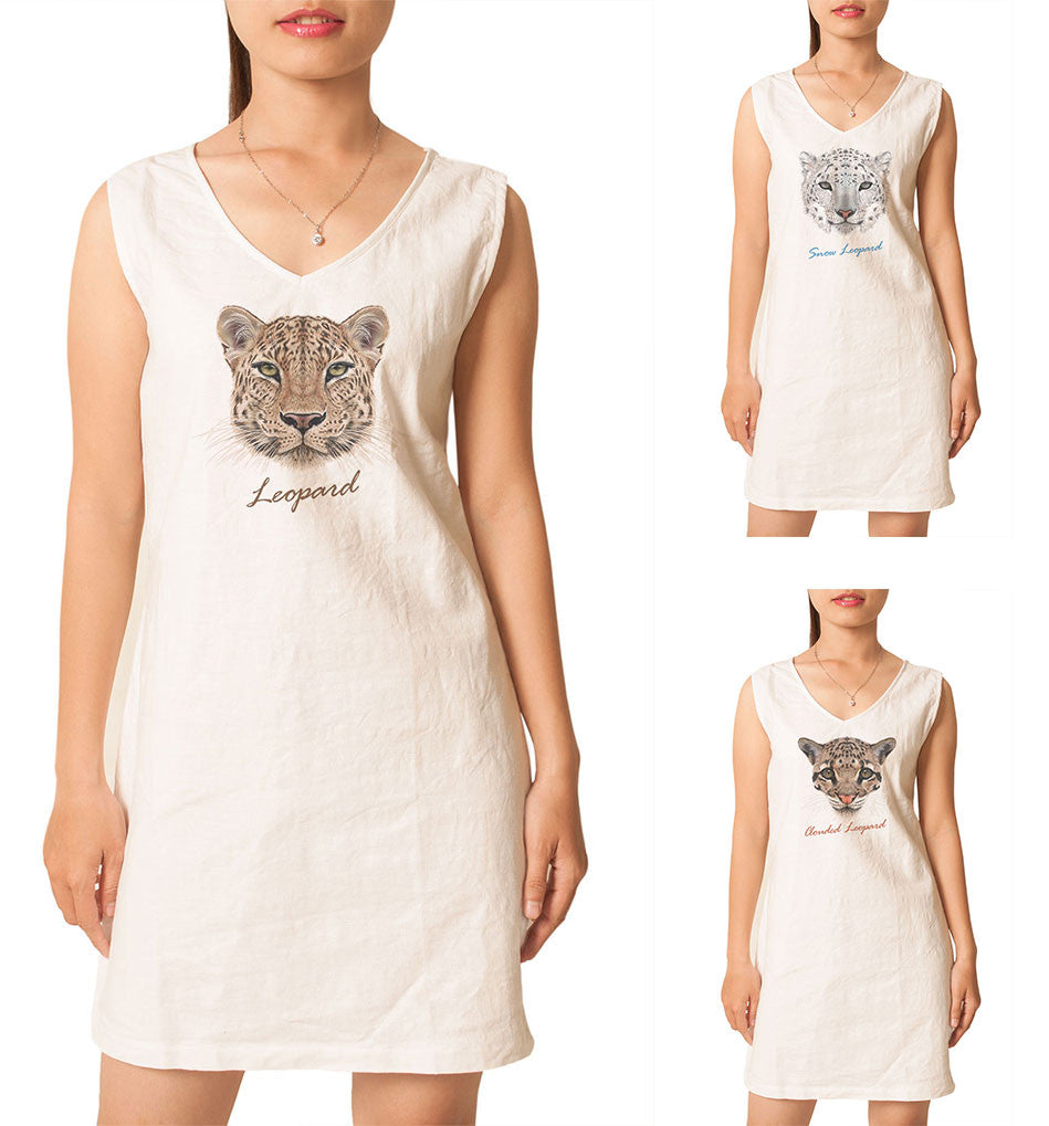Women Portraits of Leopard Printed Vintage Linen Mini Shift Dress WDS_02