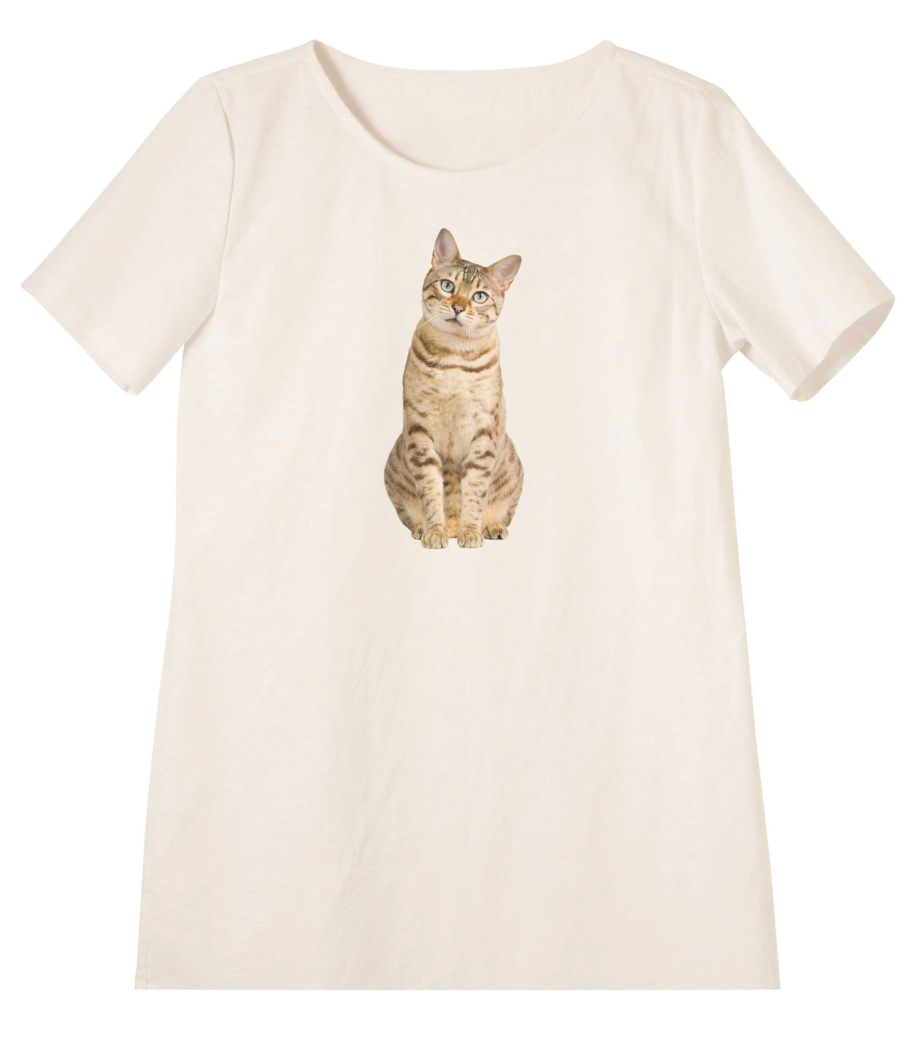 Women's Cats Printed Linen Short Sleeves Vintage Mini Shift Dress WDS_06